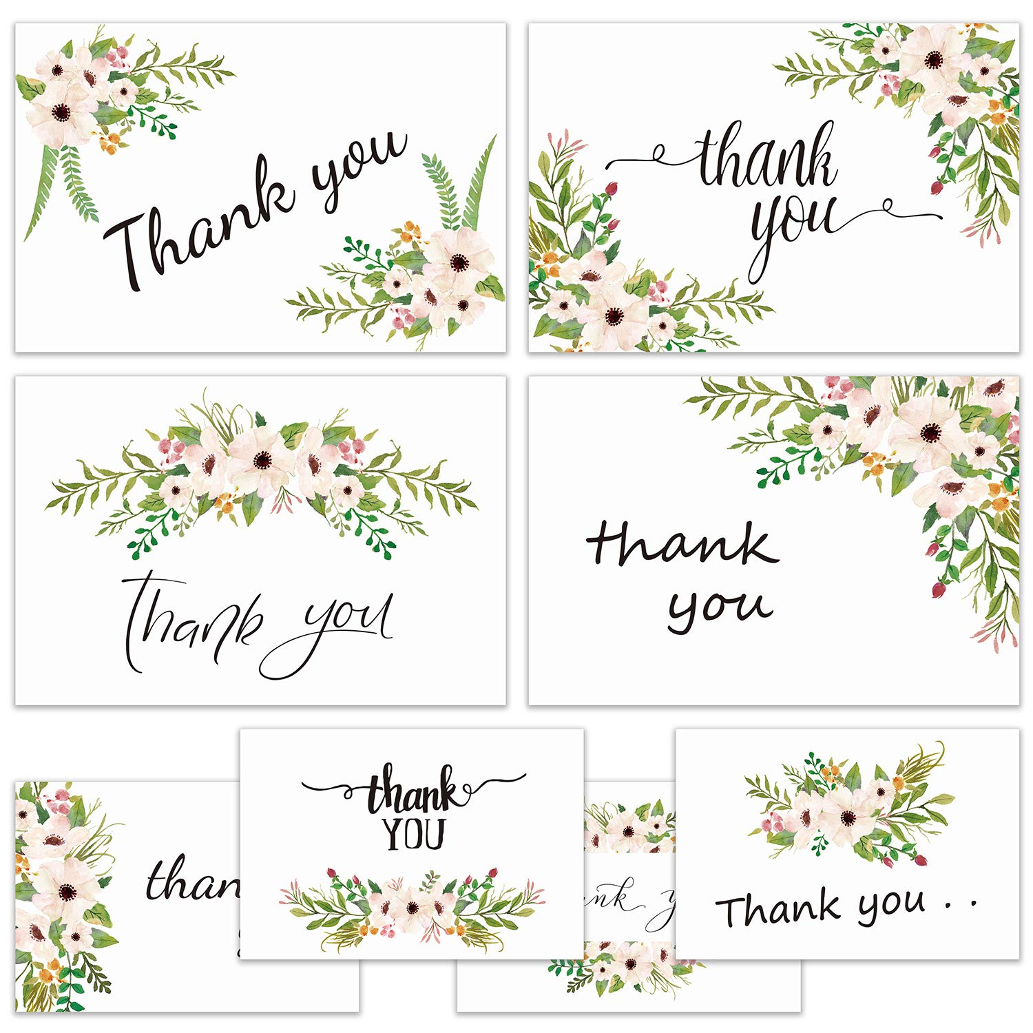 Thank You Cards with Envelopes - Set of 80 Watercolor Floral Flower Thank You Notes and Flower Stickers - Blank Inside, Perfect for Wedding, Graduation Mother's Day - 4 x 6 Inches
