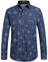 SSLR Men's Pentacle Printed Button Down Long Sleeve Casual Denim Shirt