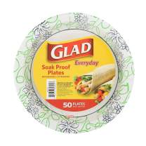 Glad BB15070 Printed Disposable Paper Plates, 50 Count (Pack of 1)