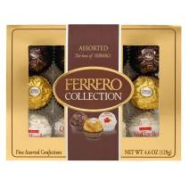 Ferrero Rocher Fine Hazelnut Milk Chocolates, 12 Count, Assorted Coconut Candy and Chocolate Collection Gift Box, 4.6 oz