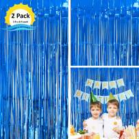 Moohome 2 Pack 3ft x 8ft Blue Foil Curtains Metallic Tinsel Fringe Curtains Shimmer Door Window Curtain Backdrop for Birthday Wedding Bridal Shower Baby Shower Photo Booth Party Decorations