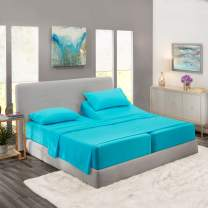 Nestl Bedding 5 Piece Sheet Set - 1800 Deep Pocket Bed Sheet Set - Hotel Luxury Double Brushed Microfiber Sheets - Deep Pocket Fitted Sheet, Flat Sheet, Pillow Cases, Split Cal King - Beach Blue