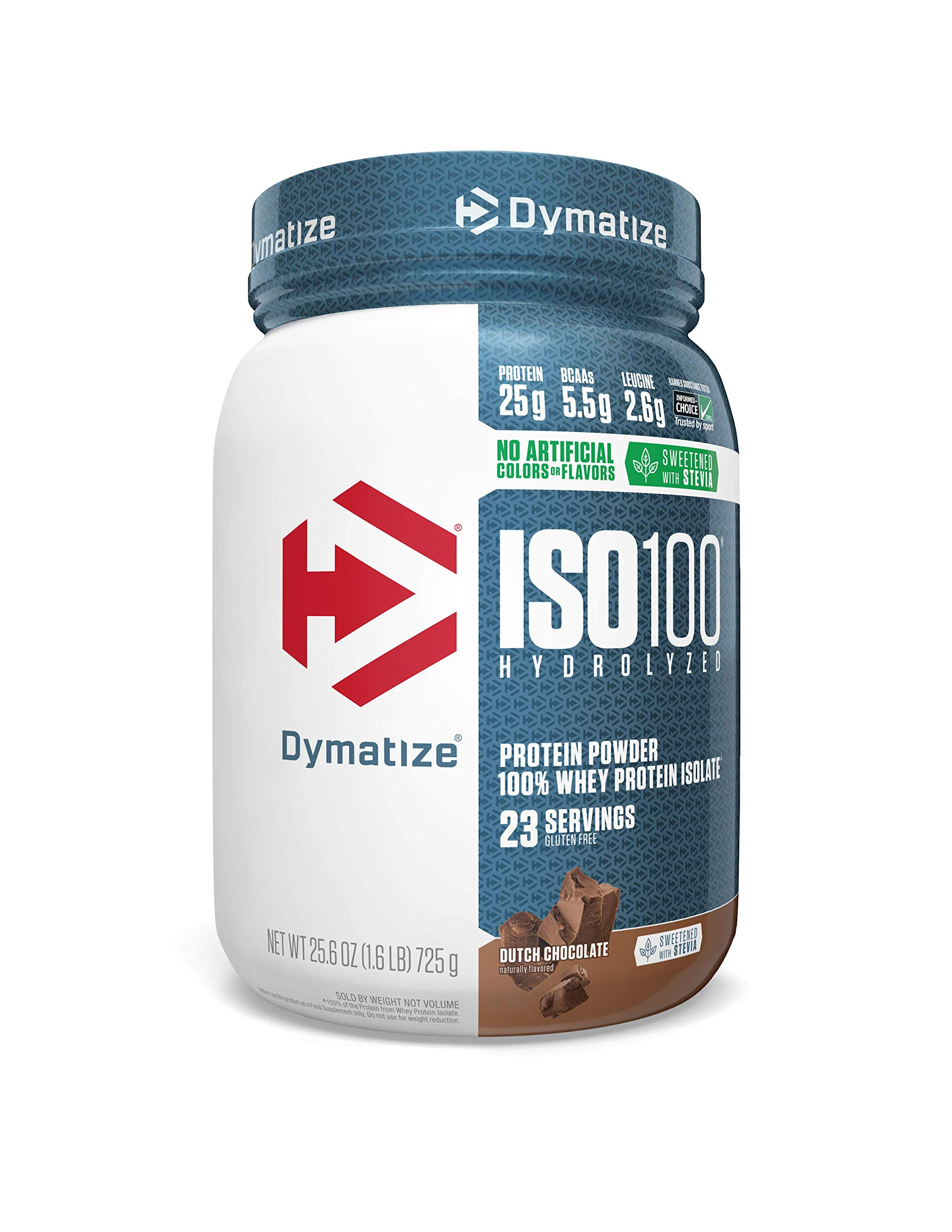 Dymatize ISO 100 Whey Protein Powder with 25g of Hydrolyzed 100% Whey Isolate, Gluten Free, Fast Digesting, Dutch Chocolate, 1.6 Pound