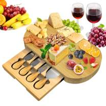 Bamboo Cheese Board Set,Cheese Board and Knife Set,Unique Bamboo Cheese Board, Charcuterie Platter & Serving Tray Including 4 Stainless Steel Knife- Perfect for Housewarming, Wedding & Birthday