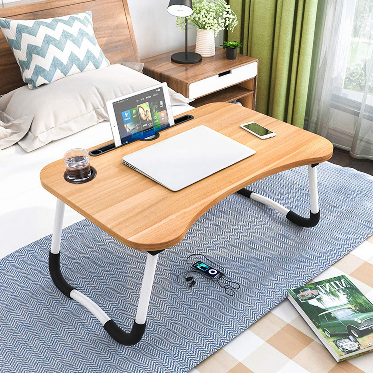 Foldable Laptop Table, CHARMDI Portable Laptop Bed Tray TableFolding Dormitory Table Notebook Stand Reading HolderBreakfast Serving Bed Tray with Tablet Slots & Cup Holder for Bed/Couch/Sofa-Golden
