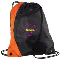 all about me company Personalized Volleyball 2 Drawstring Colorblock Cinch Pack Backpack (Orange/Black)