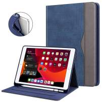 Fintie Folio Case for New iPad 7th Generation 10.2 Inch 2019 with Built-in Pencil Holder - Multi-Angle Viewing Soft TPU Protective Smart Stand Back Cover with Pocket, Auto Wake/Sleep, Denim Indigo