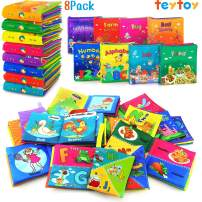 teytoy Soft Book, Nontoxic Fabric Baby Cloth Activity Crinkle Soft Books with Gift Package for Infants Boys and Girls Early Educational Toys (Pack of 8)