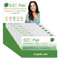 EZC Pak 5-Day Immune System Booster for Cold and Flu Relief (Pack of 6) - Echinacea, Zinc, and Vitamin C, Physician Directed 5-Day Tapered Immune Support Dose Pack