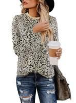 OWIN Women Leopard Shirt Plaid Trees Print Casual Cute Leopard Print Tops Basic Soft Blouse