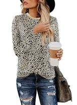 OWIN Women's Casual Cute Shirts Leopard Print Tops Basic Short Sleeve Soft Blouse