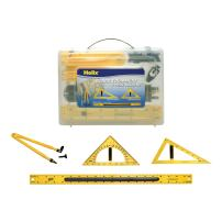 Magnetic Classroom Whiteboard Geometry 4 Piece Set, Includes Compass, 2 Triangles and Ruler (31619)