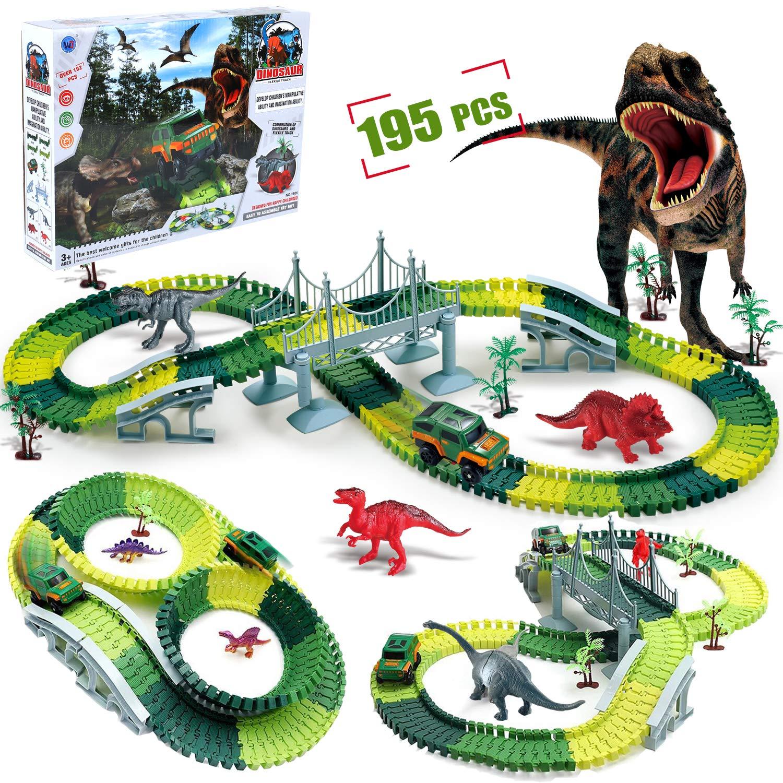Toylin Dinosaur Toys Train Race Car Track Sets,195pcs Slot Car Race Flexible Tracks Dinosaurs,Race Track Dinosaur World Bridge Create A for 3 4 5 6 Year Old Boys Girls Toddlers Birthday Gifts
