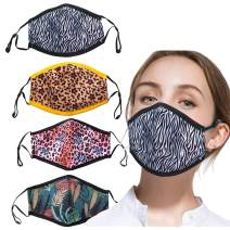 4pcs Adult Face Mask for Sports Flower Print Cotton Cartoon Breathing Mask