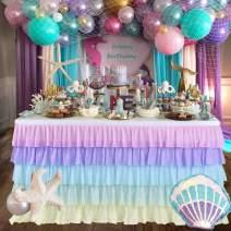 Rainbow Table Skirt Unicorn Tutu Table Skirts Tulle Table Cloth for Baby Shower,Birthday,Unicorn Party,Home Decor 6ft