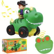 JOYIN Radio Control Toddler Cartoon Dino Race Car Toys with Music and Sound Features, Dinosaur RC Remote Control Car for 2 Year Old Kids Easter Basket Stuffers, Classroom Prize