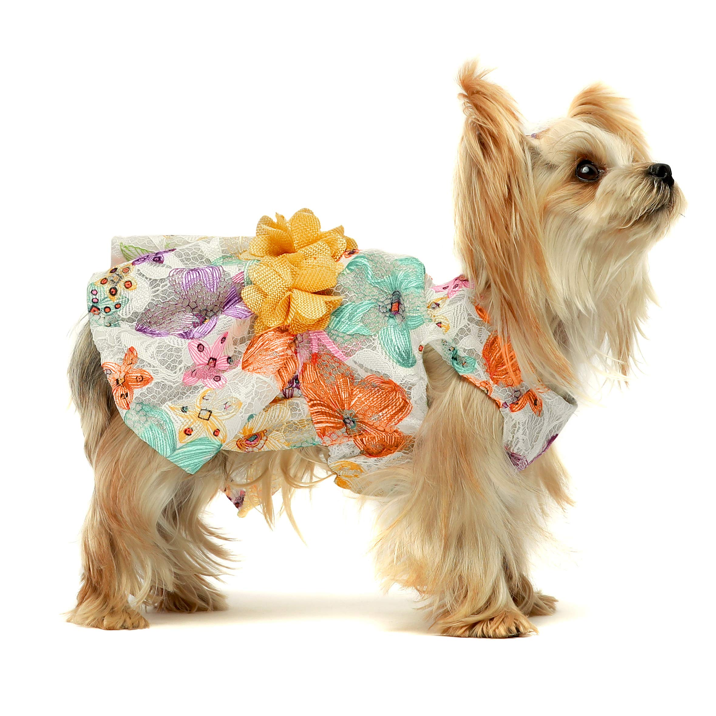 Fitwarm Flower Dog Dress for Pet Clothes Birthday Party Doggie Sundress Puppy Lace Clothes Yellow
