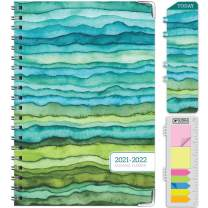 """HARDCOVER Academic Year 2021-2022 Planner: (June 2021 Through July 2022) 5.5""""x8"""" Daily Weekly Monthly Planner Yearly Agenda. Bookmark, Pocket Folder and Sticky Note Set (Green Waves)"""