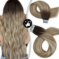 Moresoo Balayage Hair Extensions Tape in Hair Extensions Human Hair 16 Inch Remy Tape in Hair Extensions Brown Root to Golden Brown with Blonde 50 Grams 20 Pieces Human Hair Invisible Extensions