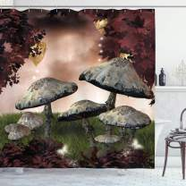 """Ambesonne Fantasy Shower Curtain, Enchanted Fairytale Forest Scenery with Mushrooms and Fairies Dark Image, Cloth Fabric Bathroom Decor Set with Hooks, 84"""" Long Extra, Maroon Grey"""