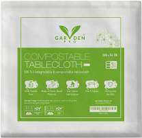 "100% Compostable & Biodegradable Tablecloth -Rectangular Transparent White Disposable Table Covers- Pack of 3 54""x108"" Each, Meets ASTMD640 standards, Vincotte OK Certified, Eco-Friendly, Plastic Free"