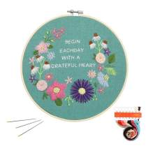 Pastoral Element Embroidery Kit, Cross Stitch Kit Including Embroidery Cloth with Three-Dimensional Floral Pattern, Bamboo Hoop, Color Threads and Starter Tools Kit (Love in The Spring)