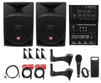"2 Rockville 15"" Powered 1000w Crossfit Gym Workout Speaker System+Mixer+Bracket"