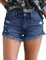 Luodemiss Women's Denim Shorts, Mid Rise Jean Shorts for Women Frayed Hem Stretch Ripped Denim Shorts