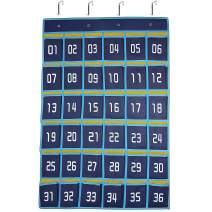 Numbered Pocket Chart Classroom 36 Cell Phone Holder Storage Hanging Pockets Organizer Calculator Caddy by Doublewhale - Blue