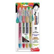 Pentel Krazy Pop Iridescent Gel Pen, (1.0mm) Bold Line, Assorted Ink (Xc/BD/CP/DG), 4-PK (K91BP4M3)