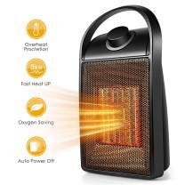 Space Heater, Quiet Personal Mini Electric Ceramic Heater, Over-Heat & Tilt Protection, Adjustable Thermostat and Multifunctional Rotatable 750W/1500W Heater Fan with Carrying Handle for Home Office