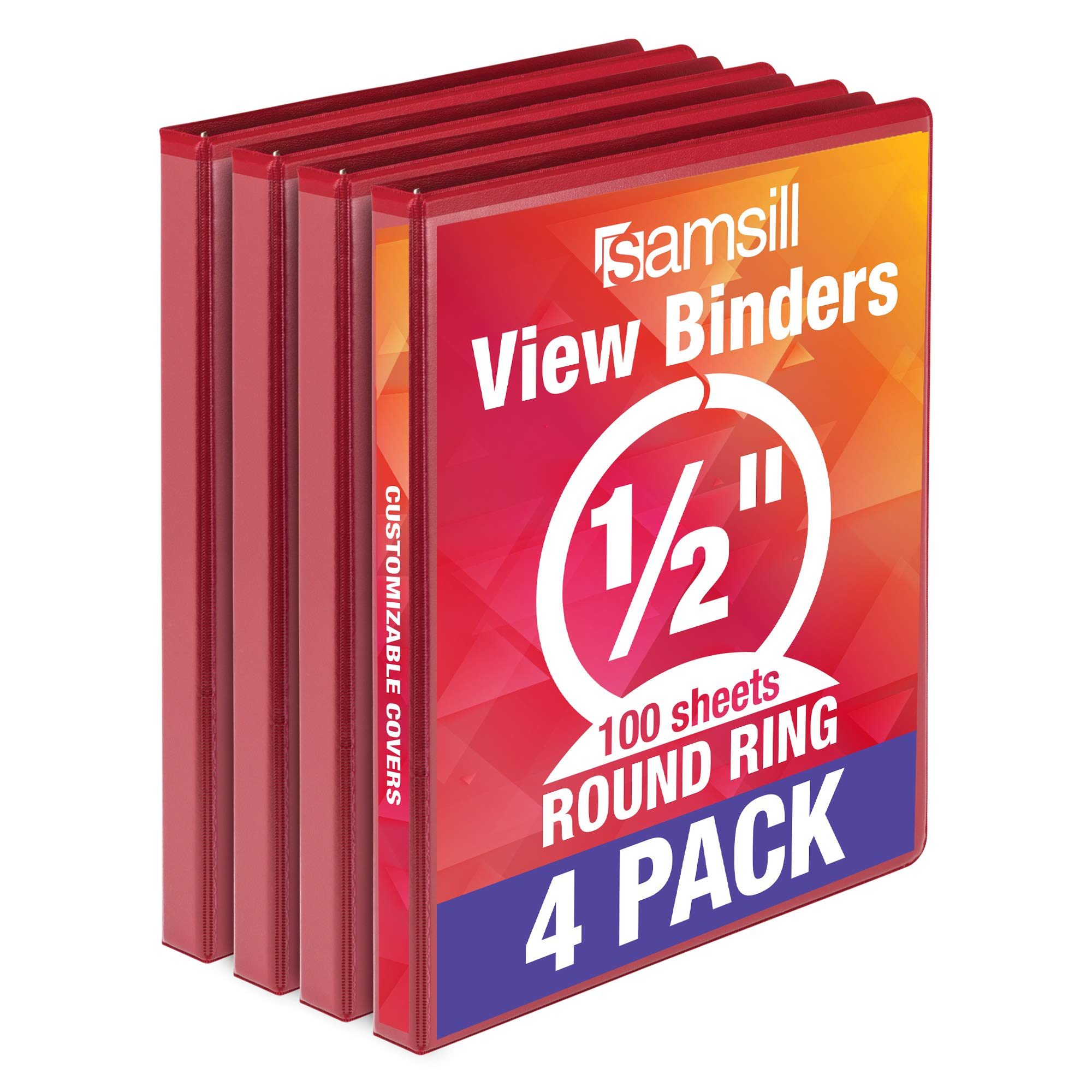 Samsill Economy 3 Ring Binder Organizer, .5 Inch Round Ring Binder, Customizable Clear View Cover, Red Bulk Binder 4 Pack, Model:MP48513