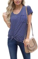 SimpleFun Women Summer Casual Tops Striped Shirts Patchwork Strip Loose T Shirts and Blouse with Pocket