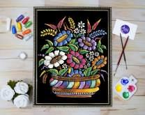 Asian Hobby Crafts Emboss Painting Kit – Velvet Fabric, Pearl Colors, Glitter, Paint Brush (Design 235)
