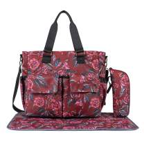 Leaper Floral Diaper Tote Bag Shoulder Bag Beach Bag Handbags Nappy Bag Red