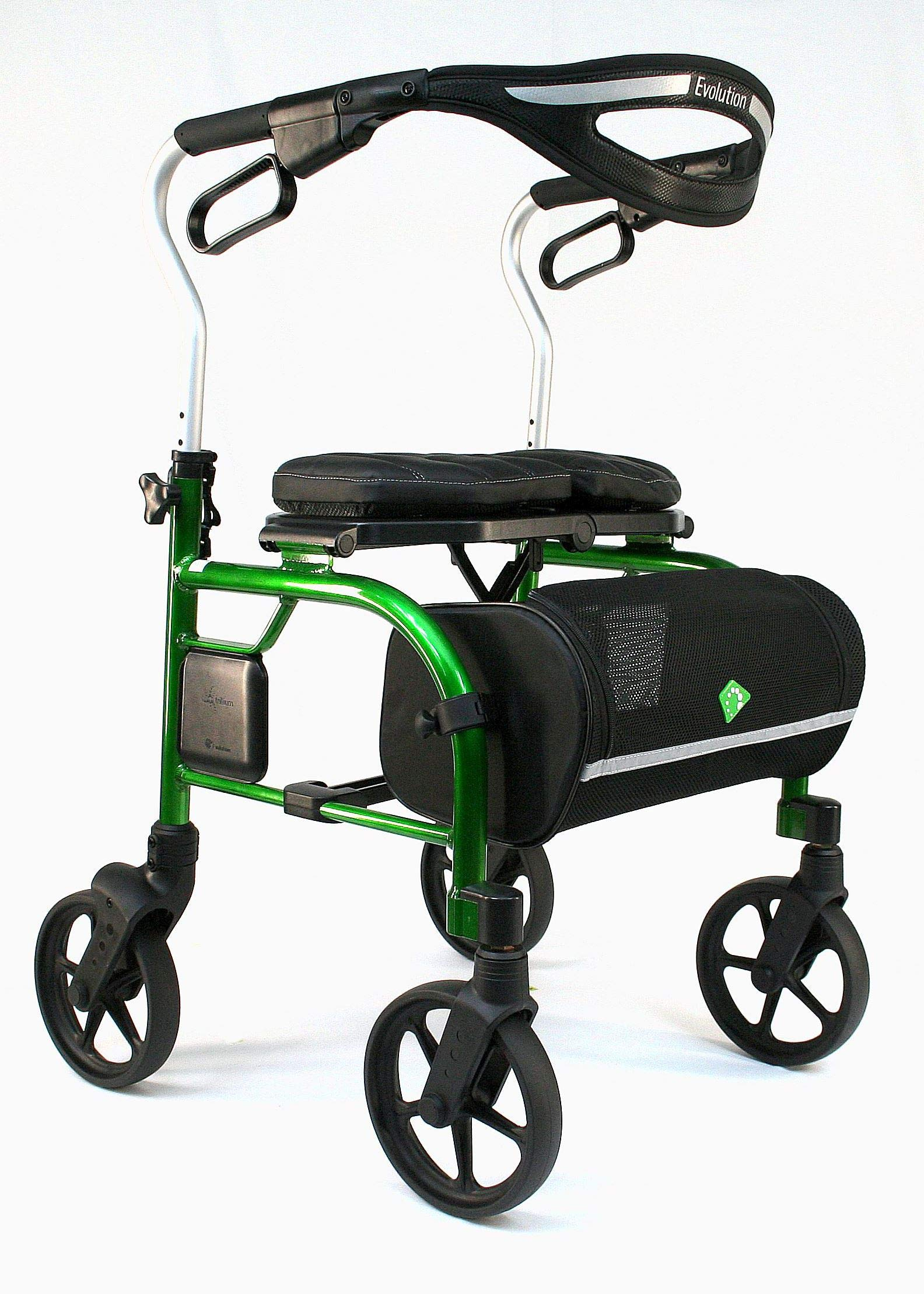 Evolution Trillium Lightweight Medical Walker Rollator with Seat, Large Wheels, Brakes, Backrest, Basket for Seniors Indoor Outdoor use (Vidid Green, Tall)