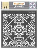 CrafTreat Floral Mandala Stencils for Painting on Wood, Canvas, Paper, Fabric, Floor, Wall and Tile - Floral Tile - 6x6 Inches - Reusable DIY Art and Craft Stencils - Mandala Stencil Large