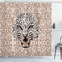 """Ambesonne Modern Shower Curtain, Roaring Leopard Portrait with Rosettes Wild Animal Big Cat Graphic, Cloth Fabric Bathroom Decor Set with Hooks, 70"""" Long, Beige Black"""