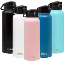 MIRA Stainless Steel Water Bottle - Vacuum Insulated Metal Thermos Flask Keeps Cold for 24 Hours, Hot for 12 Hours - BPA-Free One Touch Spout Lid Cap - 40 oz (1200 ml) Rose Pink