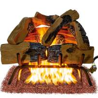 Barton 18-inch Premium Vented Natural Gas Log Wood Set Dual Burner Glowing Ember ANSI Flame Burner, 45,000BTU