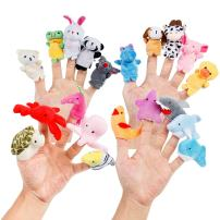 Oiuros 20pcs Different Cartoon Animal Finger Puppets Soft Velvet Dolls Props Toys Easter Basket Stuffers