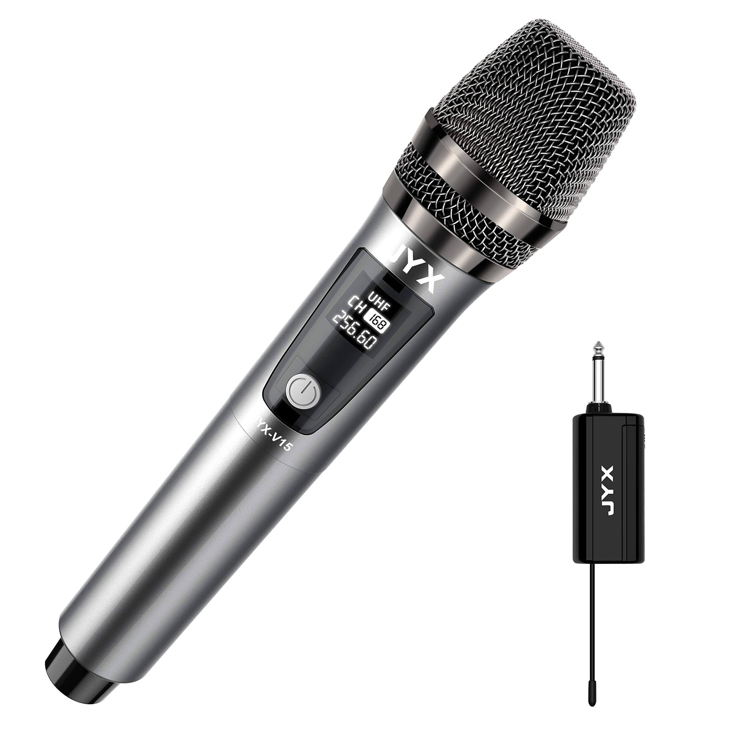 JYX Wireless Microphone, Dynamic Karaoke Microphone with Receiver and Anti-Slip Ring, 80ft Transmission Distance, Rechargeable Mic System for Karaoke Night, Meeting, Compere, Party
