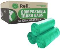 Reli. Compostable 16-25 Gallon Trash Bags (50 Count) Biodegradable Compost Trash Bags 16 Gallon - 20 Gallon - 25 Gallon, Green, Eco-Friendly, Decompostable Garbage Bags (16-25 Gal)