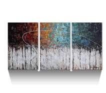 ARTLAND Hand-Painted Color Forest 3-Piece Gallery-Wrapped Abstract Oil Painting On Canvas Wall Art Decor Home Decoration 24x48 inches