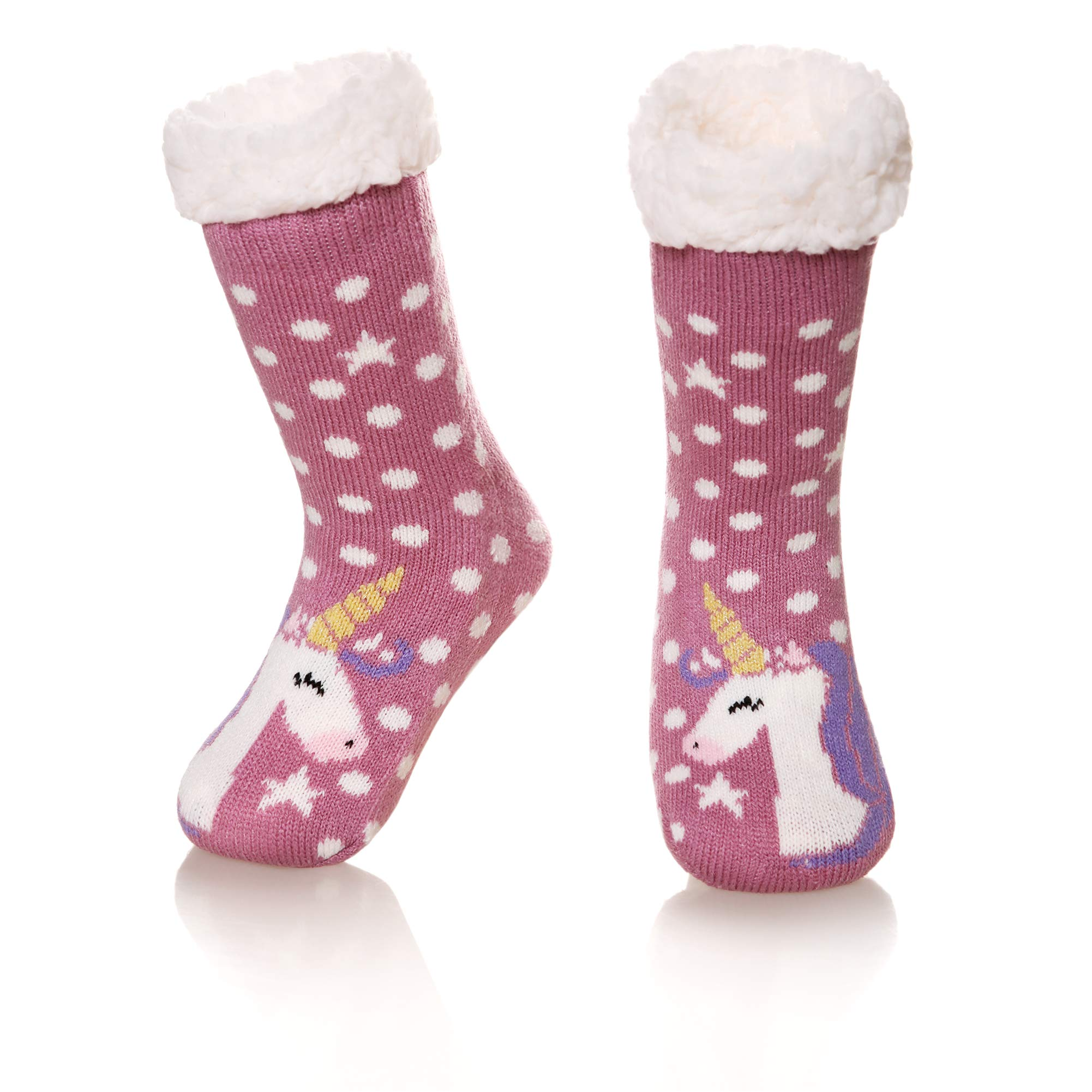 Kids Boys Girls Warm Slipper Socks Cute Animal Soft Thicken Winter Thermal Fleece Fuzzy Non-Skid Children Home Socks