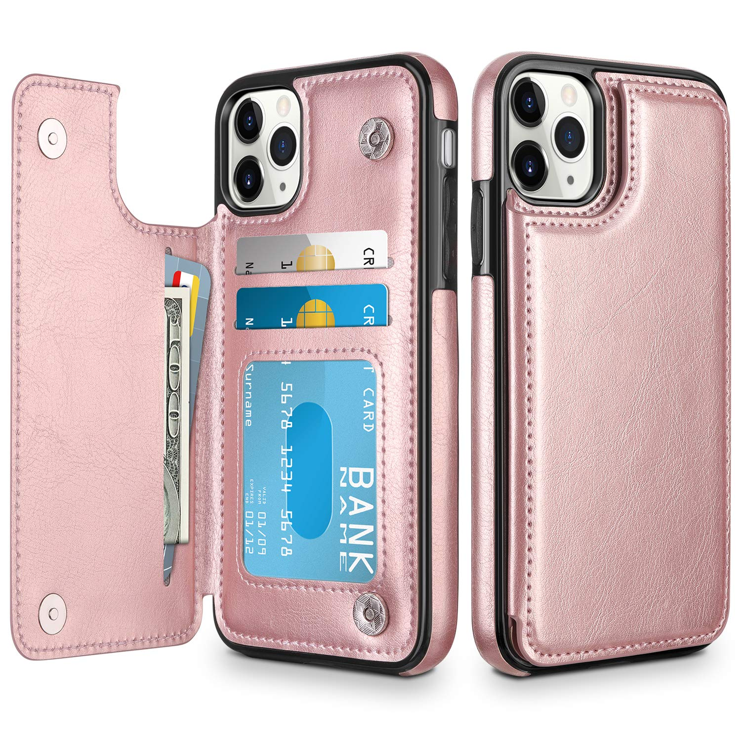 HianDier Wallet Case for iPhone 11 Pro Case Slim Protective Case with Credit Card Slot Holder Flip Folio Soft PU Leather Magnetic Closure Cover for 2019 iPhone 11 Pro 5.8 Inches, Rose Gold