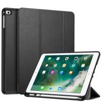 """Fintie Case with Built-in Pencil Holder for iPad 6th Generation 2018 / iPad 5th Gen 2017, iPad Air 2, iPad Air - Soft TPU Back Protective Cover w/Auto Wake Sleep for iPad 9.7"""", Black"""