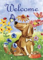 Morigins Welcome Dog Decorative Cute Puppy Spring Summer Double Sided Garden Flag 12.5 x 18 Inch