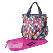 Trend Lab French Bull Ziggy Condensed Tote Diaper Bag, Pink/Black
