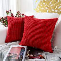 MERNETTE New Year/Christmas Decorations Corduroy Soft Decorative Square Throw Pillow Cover Cushion Covers Pillowcase, Home Decor for Party/Xmas 24x24 Inch/60x60 cm, Red, Set of 2